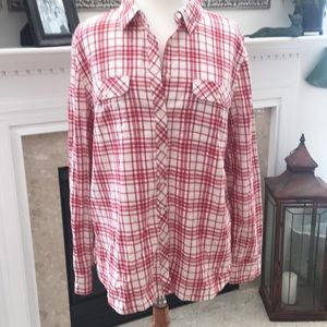 Talbots Red and Cream Flannel Shirt